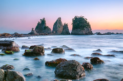 Windy Dusk at Minokakeiwa (-TommyTsutsui- [nextBlessing]) Tags: longexposure blue winter light sea sky orange seascape beach nature rock japan landscape coast nikon waves purple dusk magic tide scenic shore       islet izu   minokakeiwa minamiizu   sigma1750 onsalegettyimages