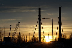Upright Preston (Tony Worrall Foto) Tags: uk sunset england sky sun lines weather season golden evening glow northwest crane dusk north scenic sunny visit scene tourist lancashire preston destination glowing serene poles goldensunset swingbridge settingsun dockland goldensky riversway prestondocks ashtononribble prestonian portsway prestonsunset 2013tonyworrall goldenpreston settingsuninpreston