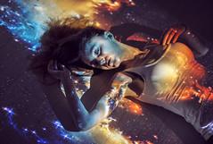 Cosmic love (Przemyslawdzus) Tags: portrait sky woman sexy art colors beauty wall stars beans model aperture nikon colours projector poland brunette nikkor emotions catchy stardust constellation milkyway gdynia d600 nikkor85