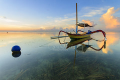 Silent Boat with Easter Egg [Explore] (Pandu Adnyana) Tags: bali reflection sunrise indonesia boat sanur mertasari