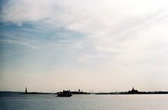 Statue of Liberty and Ellis Island (aaronvandorn) Tags: ferry jerseycity manhattan hudsonriver statueofliberty ellisisland minoltasrt202 rokkor kodakportra400 rokkor58mmf14
