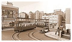 Trinity Square tram terminus (kingsway john) Tags: londontransportmodel tramway trams tram e1 feltham oogauge layout shelf miniature tower model plastic kit