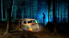 The van (palateth) Tags: lightpainting night woods belgium belgique belgie urbanexploration van urbex lightart