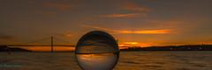Ponte 25 de Abril Crystal Ball (BS_86) Tags: travel bridge sunset vacation reflection portugal water canon river eos reisen wasser sonnenuntergang mark lisboa sommer explore ii 7d lissabon brcke fluss ferien reflektion sumer crystalball lightroom kristallkugel