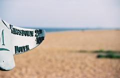 Show Us the Way - Deal, Kent (35mm) (jcbkk1956) Tags: film beach sign analog canon focus dof bokeh sigma deal signpost eos5 dover walmer autofocus kingsdown agfa200 worldtrekker