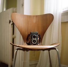 . (Ansel Olson) Tags: camera light 120 6x6 mamiya tlr film window modern rolleiflex lens reflex chair kodak twin 7 400 series medium format arne portra f28 jacobsen midcentury 80mm c330 sekor c330s