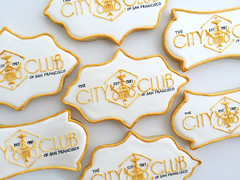 The City Club of SF logo cookies (sagodlove) Tags: plaque businesscards lustre cityclub decoratedsugarcookies cityclubsf logocookies sanfranciscocookies cookiesgold sfcookies
