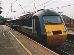 """National Express Branded GNER Blue Class 43, 43110 """"Stirlingshire"""" (37190 """"Dalzell"""") Tags: blue whitestripe nationalexpress gner stirlingshire hst grantham nx highspeedtrain class43 intercity125 greatnortheasternrailway 43110 brelcrewe"""