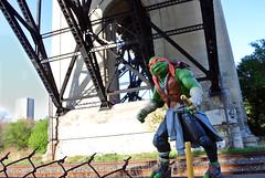 Mikey and the Subway (CR1965) Tags: toronto comics actionfigure ttc michelangelo teenagemutantninjaturtles tmnt collectortoys eastmanandlaird