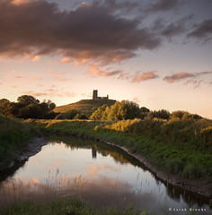 Burrow Mump (Sarah_Brooks) Tags: sunset summer england cloud rural river landscape somerset lastlight waterscape burrow burrowmump mump