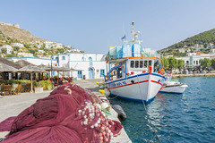 Leros Island, Greece (Nejdet Duzen) Tags: travel blue sea summer vacation sky white house color building beach windmill architecture marina landscape boats island greek bay harbor fishing holidays europe mediterranean village view place traditional aegean rocky landmark greece destination colored idyll picturesque idyllic leros dodecanese agia