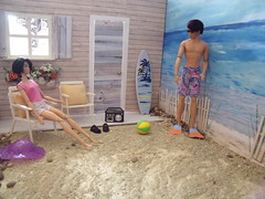 My First LaurenLand Story Part 2, 8 of 12 (suekulec) Tags: beach swimming story 16 flippers sunbathing diorama playscale