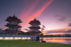 Twin Pagoda (ystan) Tags: sunset west reflection tourism weather garden view chinese jurong