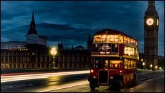 The Night Bus (Darren Wilkin) Tags: bridge bus london westminster night vintage housesofparliament westminsterbridge lighttrail aecregentiiirt londonphoto24