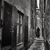 Narrow Margin.. (Peter Levi) Tags: street city blackandwhite bw blancoynegro lady stairs 35mm person sweden stockholm streetphotography gamlastan oldtown windowshutters x100 blackwhitephotos oldstreetlight alwaysexc asquaresuperstarstemple