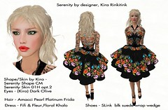 2.24. Serenity goes shopping_005 (Q aka dymoon (Qyhat Harbor)) Tags: fashion hair eyes shoes makeup style sl floraldress designerclothes