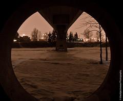 Circular Frame (theobjectivesea photography) Tags: longexposure bridge trees winter canada cold calgary ice water nikon alberta bowriver freshwater naturalframe d7000 nikkorafsdx18105mmf3556edvr calgarypassionforphotography