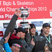 The U.S. four-man bobsled team won the World Championship Martineau Cup Sunday at Mt. Van Hovenburg. German teams, flanking the Americans here, won second and third places. Photo: Marc Wanner, Saranac Lake NY.