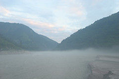 Misty morning On the Karnali river Adventure rafting and kayaking trip