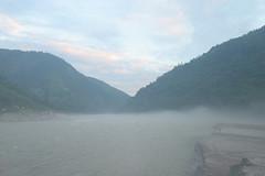 Misty morning On the Karnali river Adventure rafting and kayaking trip