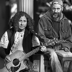 Eye Contact and the Audience (Ian Sane) Tags: street portrait white black eye musicians oregon corner portland ian photography downtown audience guitar percussion bongo images and strings contact avenue morrison performers 6th sane the