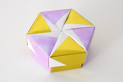 Hexagonal Origami Box with Lid #10 (Dominic's pics) Tags: pink wheel japan gold for star earthquake origami pin pacific box foil decorative hexagonal tsunami help lilac gift reflective hexagon boxes iridescent pinwheel six tohoku lid tomoko fuse pointed sides nacreous sided dichroic pearlescent 布施 知子