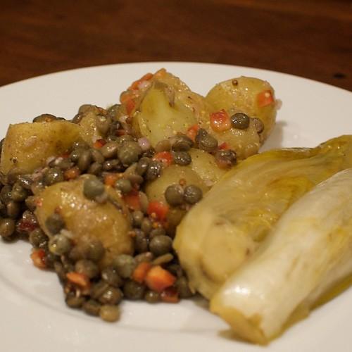 Lentil and Potato Salad with Braised Endive