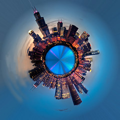 Chicago Mini Planet (Brian Koprowski) Tags: blue sunset chicago photoshop illinois pentax hdr distort cs5 miniplanet pentaxk5 briankoprowski bkoprowski