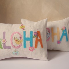 Cushions aloha (Roxy Creations) Tags: pink blue flower green bird girl animal hand purple heart felt pillow applique cushion embroidered