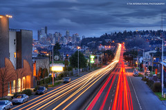 Keep Blazin Your Own Trail (TIA International Photography) Tags: road seattle county street city bridge winter light building skyline night speed skyscraper mall tia anne hotel evening march george washington highway memorial downtown king boulevard cityscape traffic motorway pacific northwest cloudy dusk distr