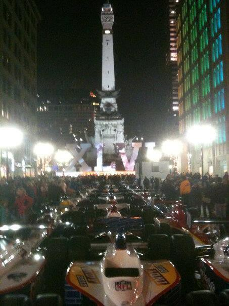 Monument Circle with Indy Cars wrapped in team logos
