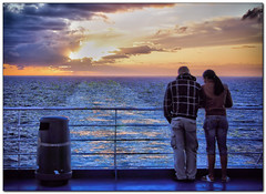 Talking about love at sunset (Michel_Derksen) Tags: sunset sea love ferry clouds newcastle zonsondergang wolken zee deck liefde dek veerboot ijmuiden dfds