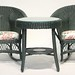 116. (3) Piece Set Painted Wicker Chairs and Table