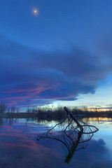 Arapaho Bend Sunset (Pickr taker) Tags: sunset usa moon lake nature canon landscape pond colorado unitedstates natural scenic fortcollins wideangle arapahoe 1022mm 1022 naturalarea canon1022mm arapaho t2i arapahobend canont2i