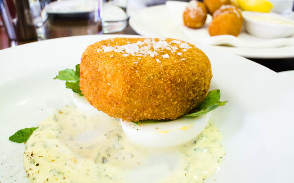 smoked trout fishcake with soft-boiled eggs and caper mayo