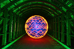 Culvert wiggly orb (- Hob -) Tags: longexposure blue red lightpainting green underground arch orb led girders mikeross culvert dlw singleexposure sooc txpilot digitallightwand canyouspotthestand