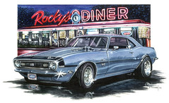 """Dinner at Rocky's"" ( Bowtie Required ) (BT Illustrations) Tags: art chevrolet car watercolor artwork ss diner automotive camaro watercolour watercolors watercolours diners musclecar chevroletcamaro realism supersport 396 autoart streetmachine roadsidediner automotiveart sscamaro"
