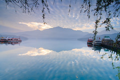 (samyaoo) Tags: morning light lake mountains reflection tree misty clouds sunrise landscape pier boat foggy taiwan     sunmoonlake thelalu nantou