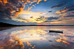 time fades gently (Luke Tscharke) Tags: sunset sky clouds reflections relax boat still quiet peace time nsw serene 1xp longjetty