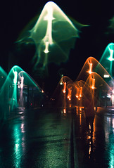 Ghosts of the Street (Jetty Packages) Tags: road street blue orange green wet water rain puddle lights walk shapes ghosts tar