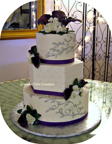 Ivory, Purple and Silver Wedding Cake - a photo on Flickriver