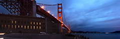 A Dark and Stormy Night (Andrew Louie Photography) Tags: california bridge blue light storm wet rain night point golden gate san francisco glow moody fort anniversary jazz stormy hour 75 jazzy winfred