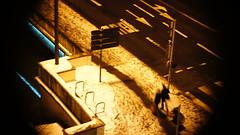 Night Walkers (Shoot Too Kill) Tags: winter people snow signs blur france cold strange night walking lights blurry couple traffic sony vignette slowshutterspeed sooc straightoutofcamera cmount micro43 sonynex5