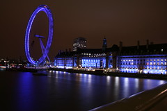 Photography 193 (Sandy DVaury) Tags: street blue light people motion bus london night speed photography colours slow creative londoneye bigben fluorescent churchill doubledecker telephonebooth