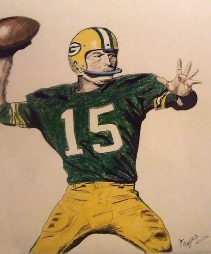 NFL legend Bart Star of the Green Bay Packers fading back to pass