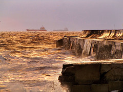 Battered. (paul downing) Tags: rain sunrise canon pier wind jetty kitchensink breakwater battered northgare pdp seatoncarew pd1001 sx10is pauldowning