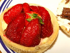 Strawberry and chocolate cream tarts - 6 (Tony Worrall Foto) Tags: uk england food cakes fruit berry berries sweet cream tasty eaten sugar eat foodporn pastry snacks taste sugary bake tarts bought baked creamy piled stawberries creamtarts 2013tonyworrall