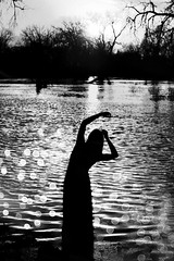 (emmakatka) Tags: trees portrait sun reflection tree water girl silhouette river flooding arms flood bokeh branches overlay northdakota redriver
