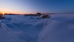 (O.Taillon) Tags: blue winter sunset sky orange sun snow canada ice landscape quebec hiver olympus fisheye gradient neige electrical barrage snowscape electrique drummondville samyang rokinon75mm omdem5