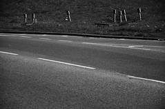 DSC_9816 [ps] - Social Cohesion (Anyhoo) Tags: road uk england blackandwhite bw tarmac sign hydrant grey post board bank surrey repetition infrastructure marker guildford asphalt kerb information greyscale verge indicator irregular haphazard anyhoo photobyanyhoo metermarker
